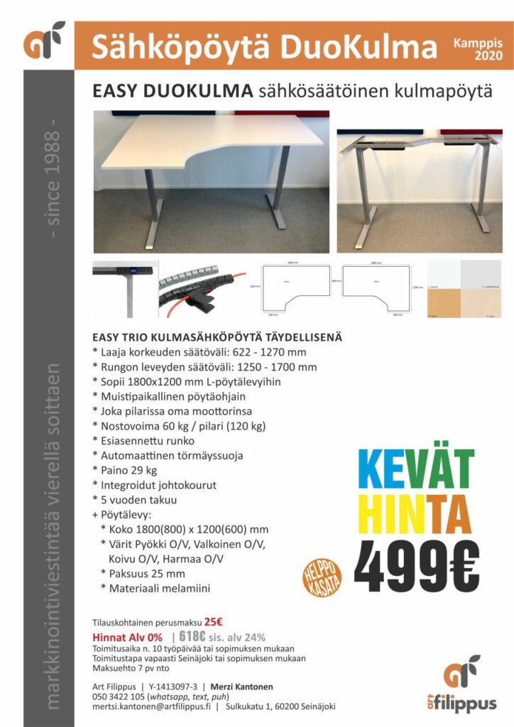 Sähköpöytä kulma Duo tarjous